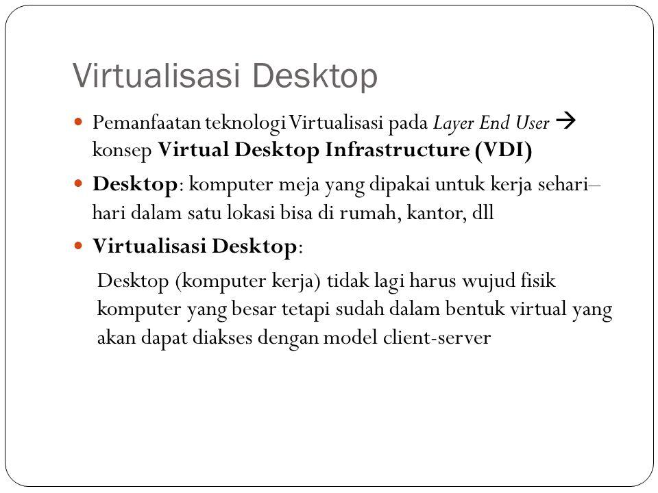 Pemanfaatan teknologi Virtualisasi pada Layer End User  konsep Virtual Desktop Infrastructure (VDI) Desktop: komputer meja yang dipakai untuk kerja sehari– hari dalam satu lokasi bisa di rumah, kantor, dll Virtualisasi Desktop: Desktop (komputer kerja) tidak lagi harus wujud fisik komputer yang besar tetapi sudah dalam bentuk virtual yang akan dapat diakses dengan model client-server