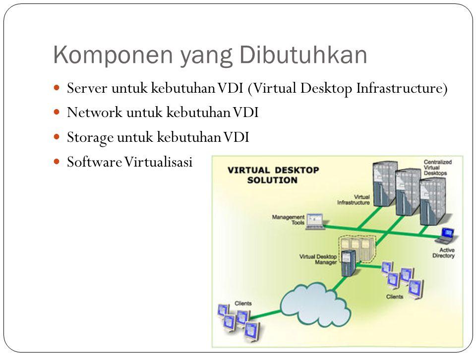 Komponen yang Dibutuhkan Server untuk kebutuhan VDI (Virtual Desktop Infrastructure) Network untuk kebutuhan VDI Storage untuk kebutuhan VDI Software Virtualisasi