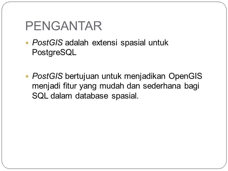 PENGANTAR PostGIS adalah extensi spasial untuk PostgreSQL PostGIS bertujuan untuk menjadikan OpenGIS menjadi fitur yang mudah dan sederhana bagi SQL d