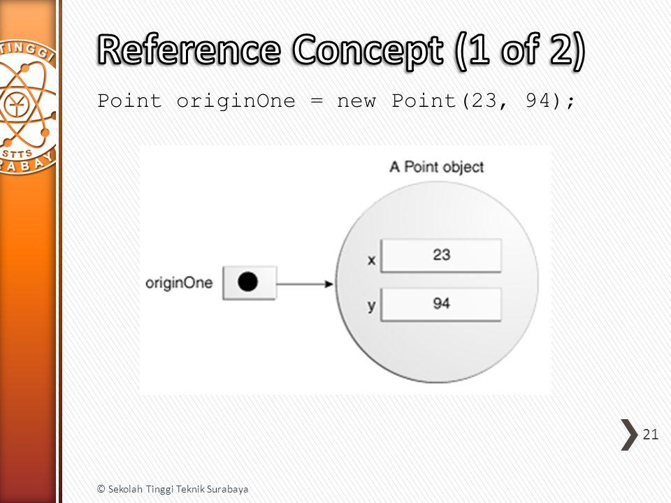 Point originOne = new Point(23, 94); 21 © Sekolah Tinggi Teknik Surabaya