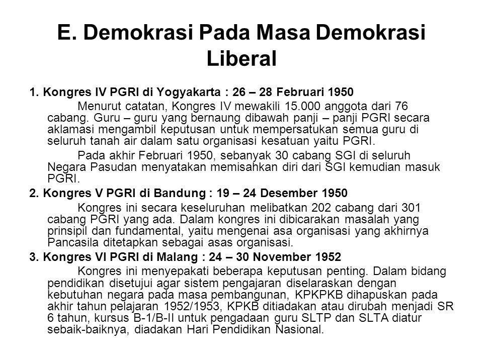 E.Demokrasi Pada Masa Demokrasi Liberal 1.