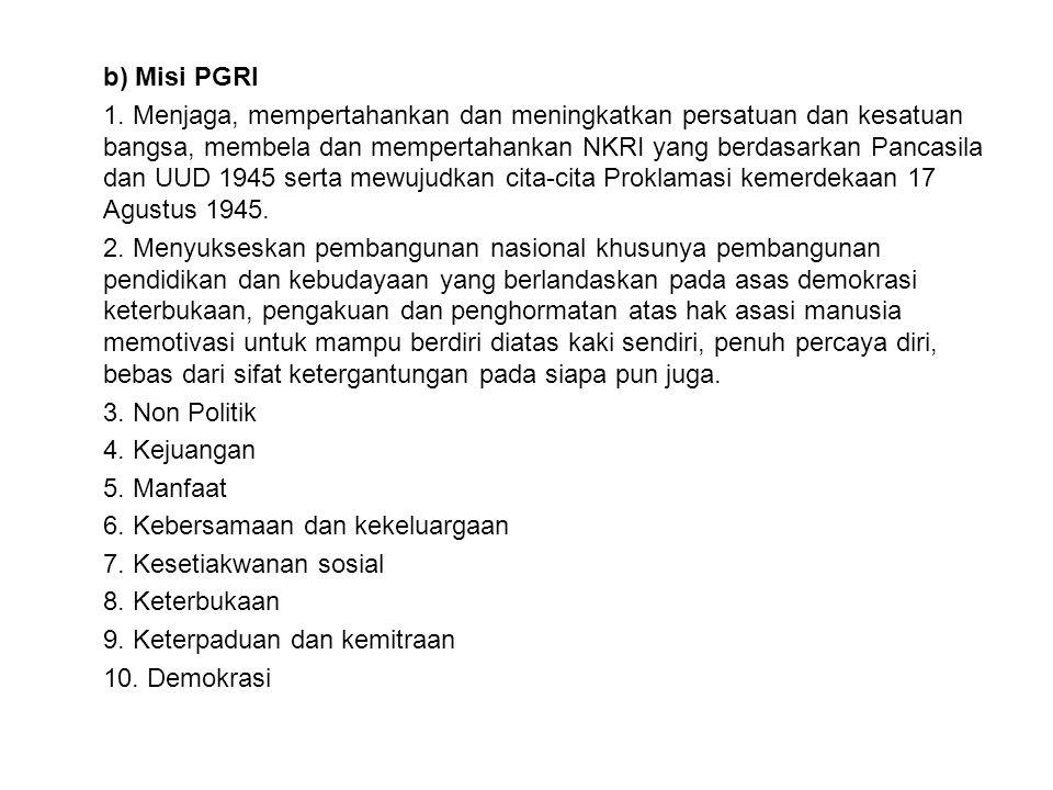 b) Misi PGRI 1.