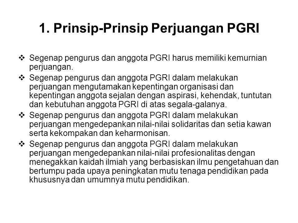 1. Prinsip-Prinsip Perjuangan PGRI  Segenap pengurus dan anggota PGRI harus memiliki kemurnian perjuangan.  Segenap pengurus dan anggota PGRI dalam
