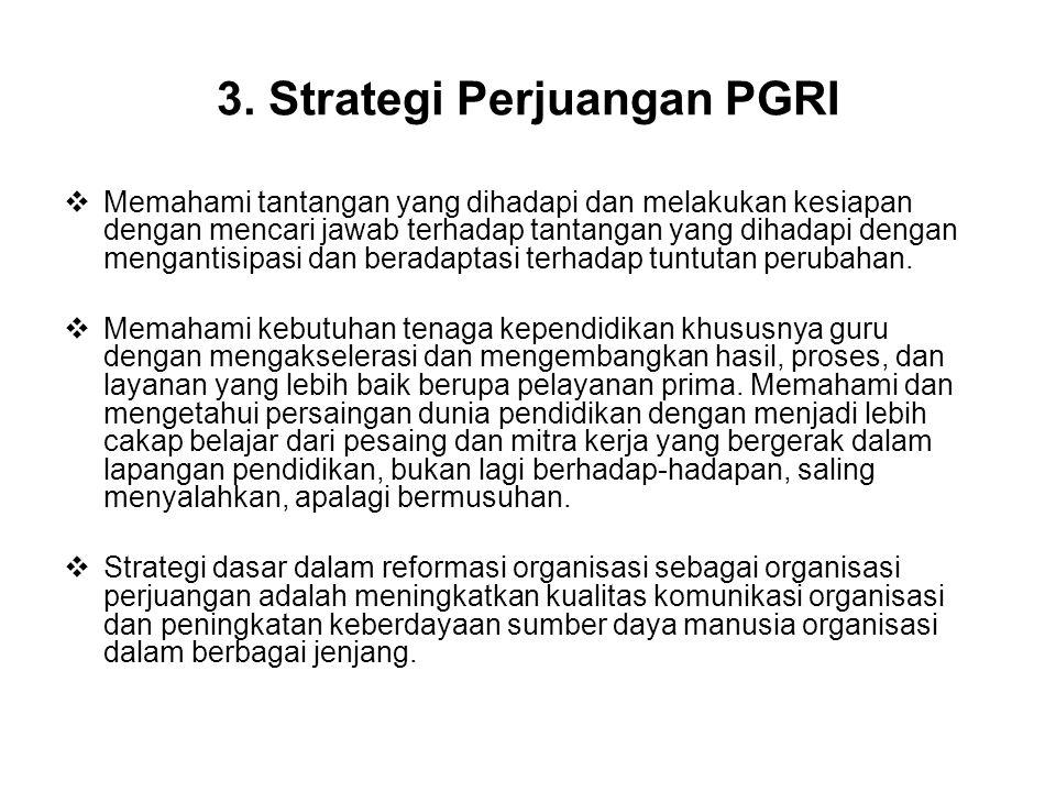 3. Strategi Perjuangan PGRI  Memahami tantangan yang dihadapi dan melakukan kesiapan dengan mencari jawab terhadap tantangan yang dihadapi dengan men