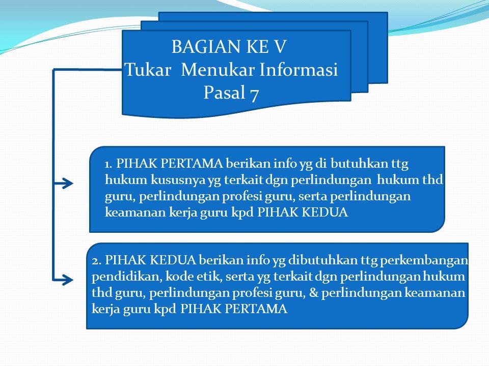 BAGIAN KE V Tukar Menukar Informasi Pasal 7 1. PIHAK PERTAMA berikan info yg di butuhkan ttg hukum kususnya yg terkait dgn perlindungan hukum thd guru