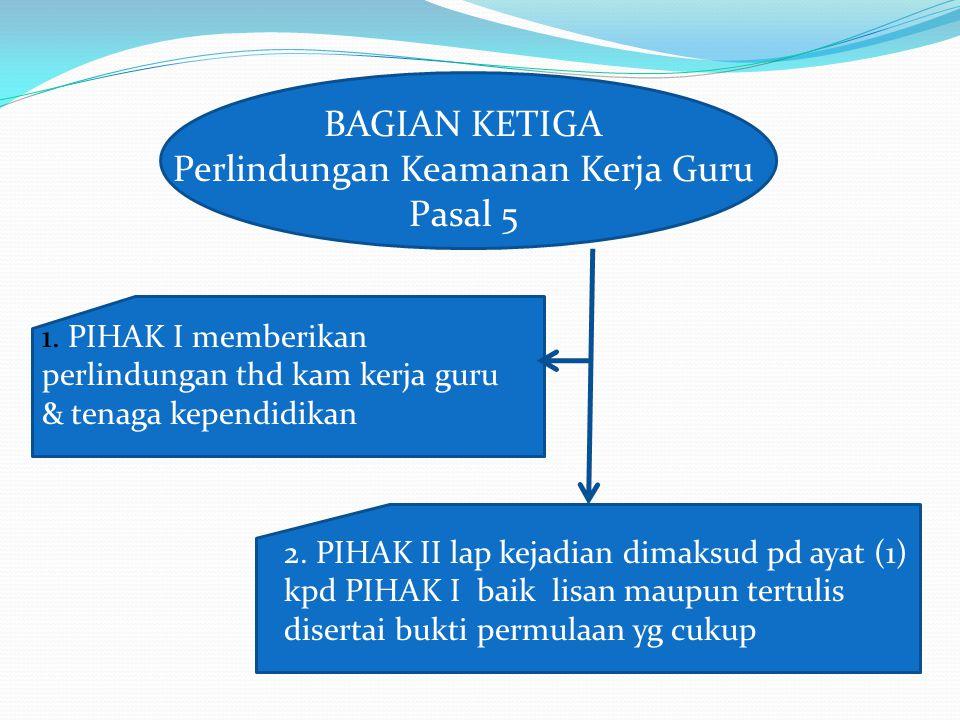 BAGIAN KETIGA Perlindungan Keamanan Kerja Guru Pasal 5 1.
