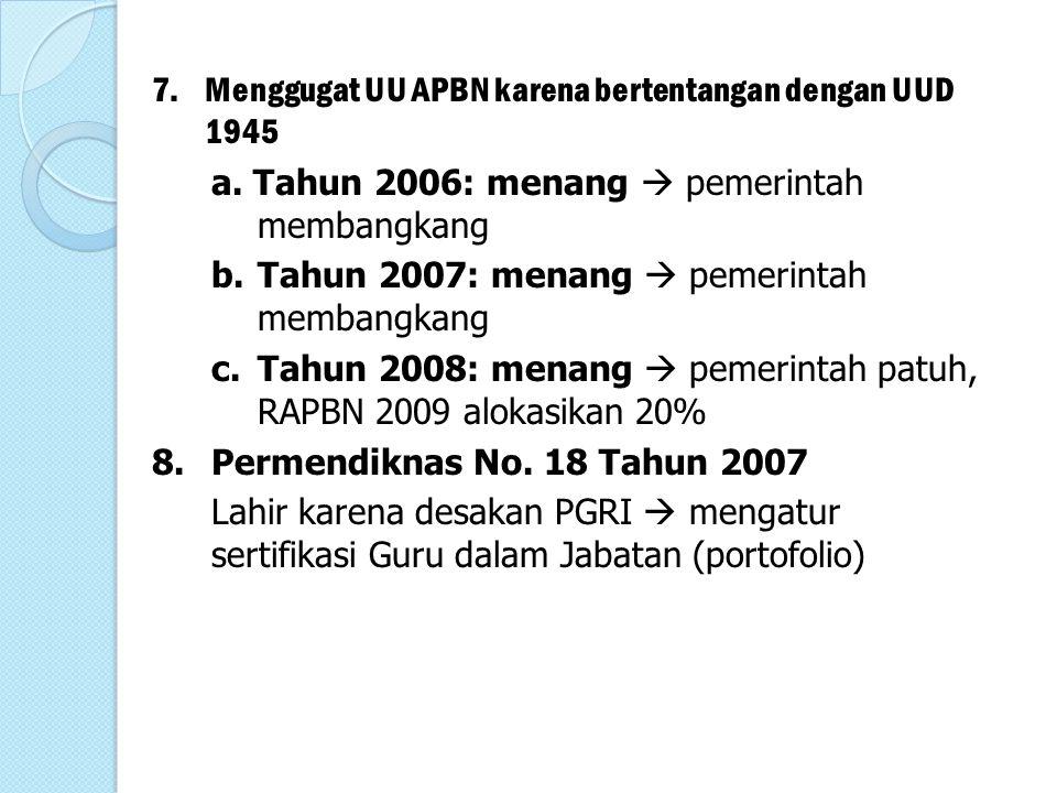 7.Menggugat UU APBN karena bertentangan dengan UUD 1945 a. Tahun 2006: menang  pemerintah membangkang b.Tahun 2007: menang  pemerintah membangkang c