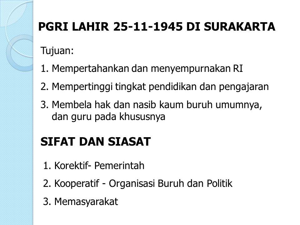 PGRI LAHIR 25-11-1945 DI SURAKARTA Tujuan: 1.Mempertahankan dan menyempurnakan RI 2.Mempertinggi tingkat pendidikan dan pengajaran 3.Membela hak dan n