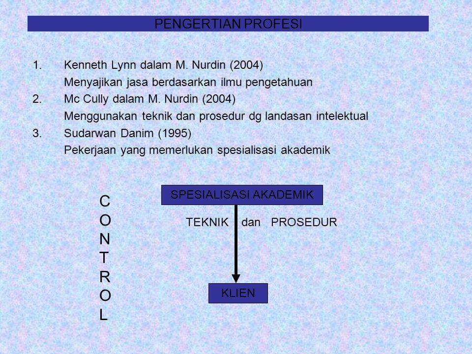 PENGERTIAN PROFESI 1.Kenneth Lynn dalam M. Nurdin (2004) Menyajikan jasa berdasarkan ilmu pengetahuan 2.Mc Cully dalam M. Nurdin (2004) Menggunakan te