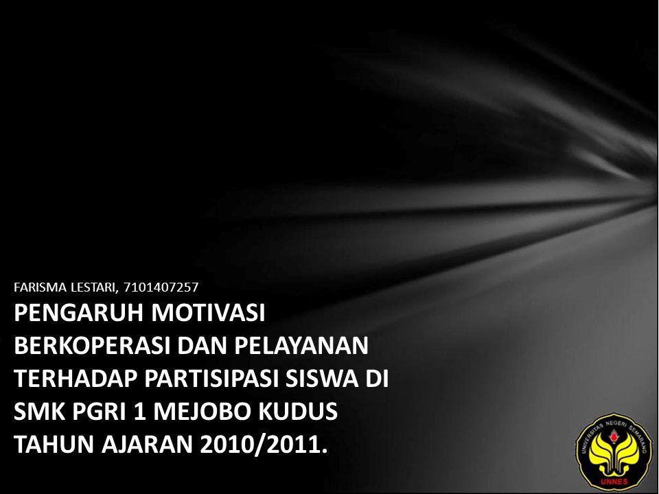 FARISMA LESTARI, 7101407257 PENGARUH MOTIVASI BERKOPERASI DAN PELAYANAN TERHADAP PARTISIPASI SISWA DI SMK PGRI 1 MEJOBO KUDUS TAHUN AJARAN 2010/2011.