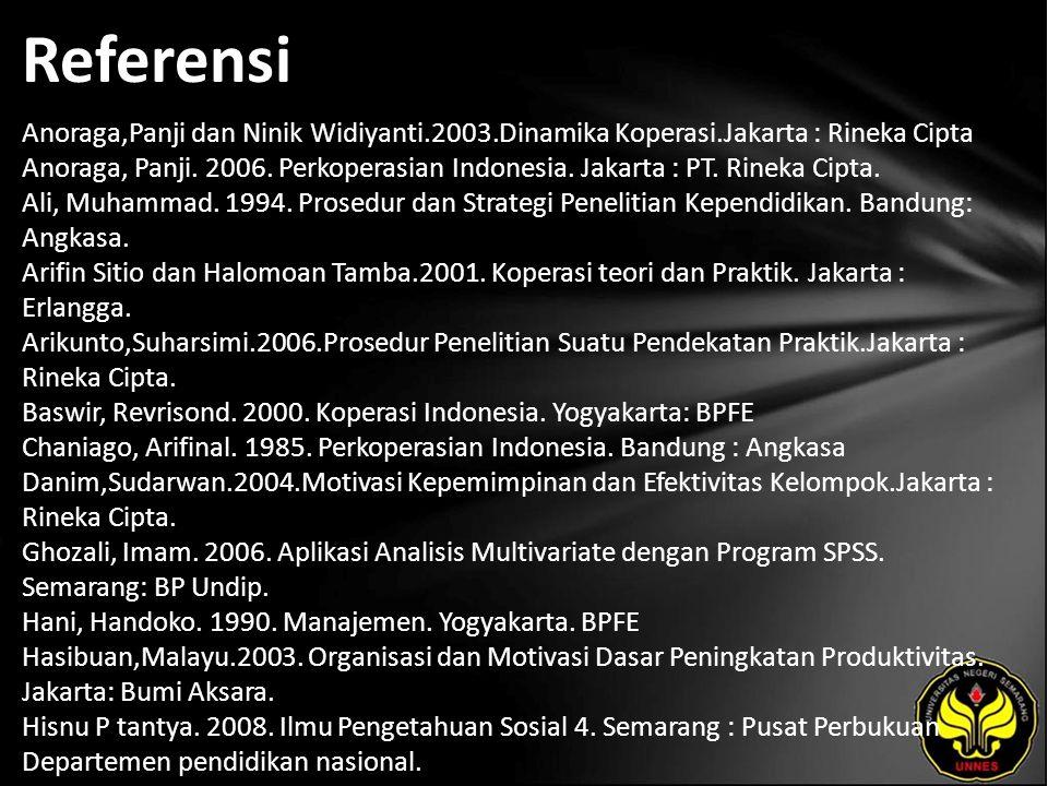 Referensi Anoraga,Panji dan Ninik Widiyanti.2003.Dinamika Koperasi.Jakarta : Rineka Cipta Anoraga, Panji.
