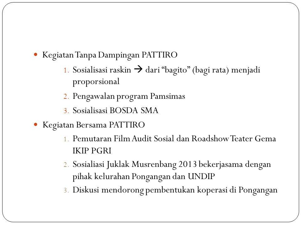 "Kegiatan Tanpa Dampingan PATTIRO 1. Sosialisasi raskin  dari ""bagito"" (bagi rata) menjadi proporsional 2. Pengawalan program Pamsimas 3. Sosialisasi"