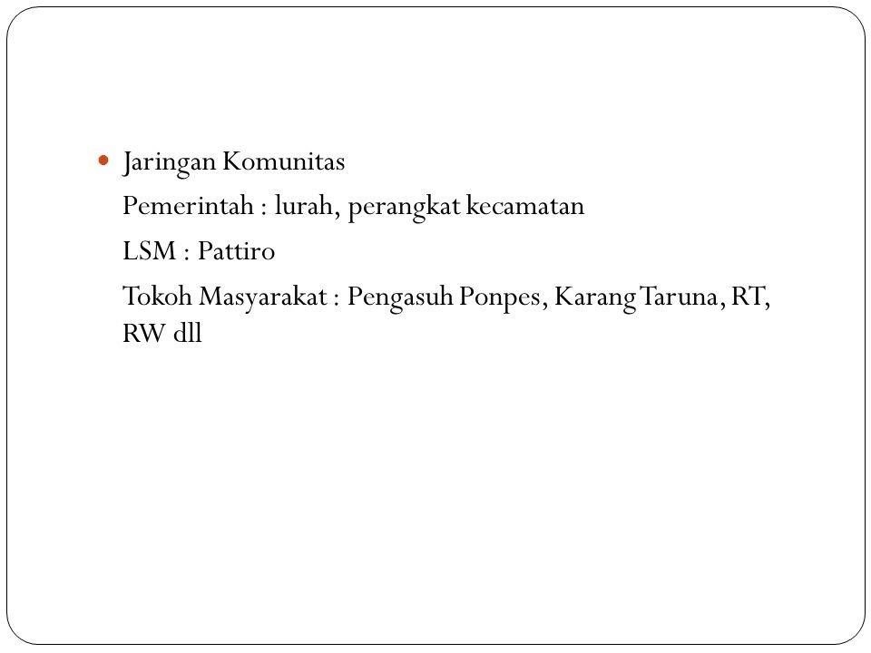 Jaringan Komunitas Pemerintah : lurah, perangkat kecamatan LSM : Pattiro Tokoh Masyarakat : Pengasuh Ponpes, Karang Taruna, RT, RW dll