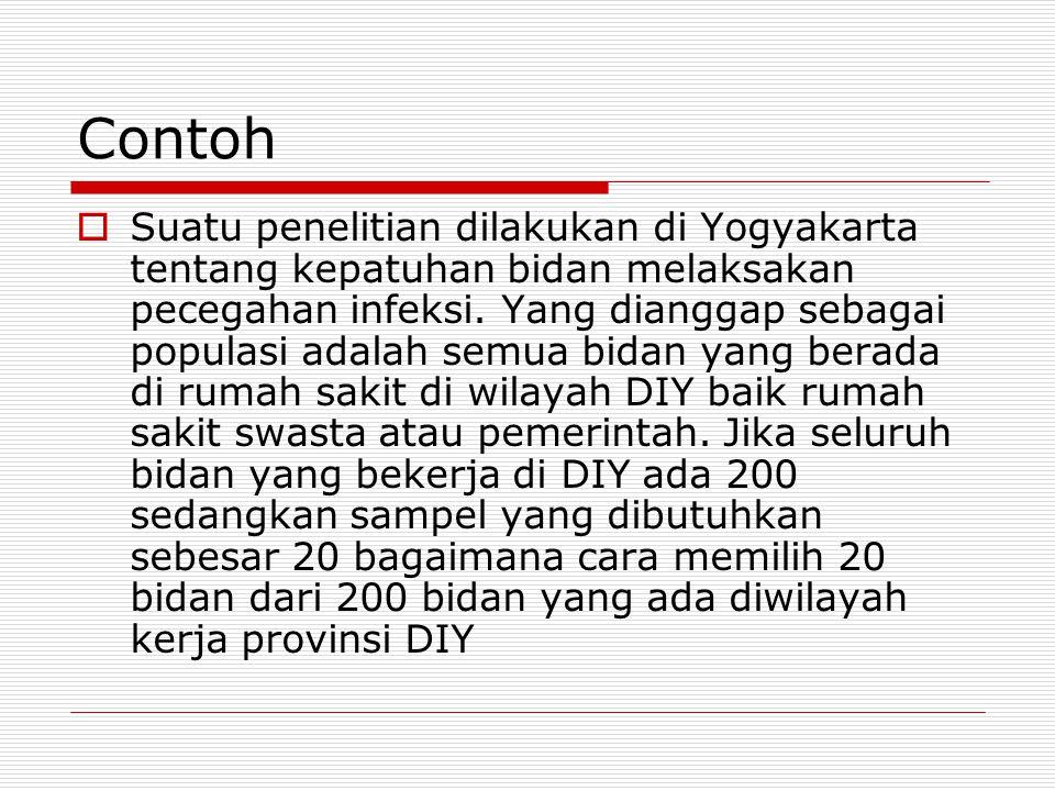 Contoh  Suatu penelitian dilakukan di Yogyakarta tentang kepatuhan bidan melaksakan pecegahan infeksi. Yang dianggap sebagai populasi adalah semua bi