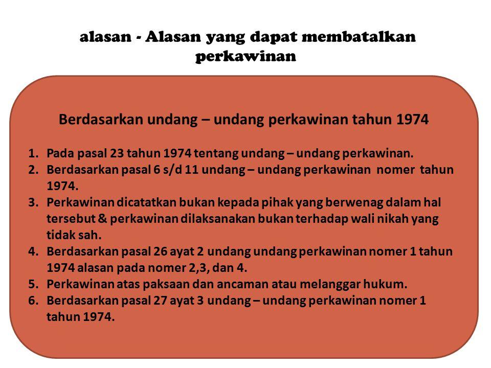 alasan - Alasan yang dapat membatalkan perkawinan Berdasarkan undang – undang perkawinan tahun 1974 1.Pada pasal 23 tahun 1974 tentang undang – undang
