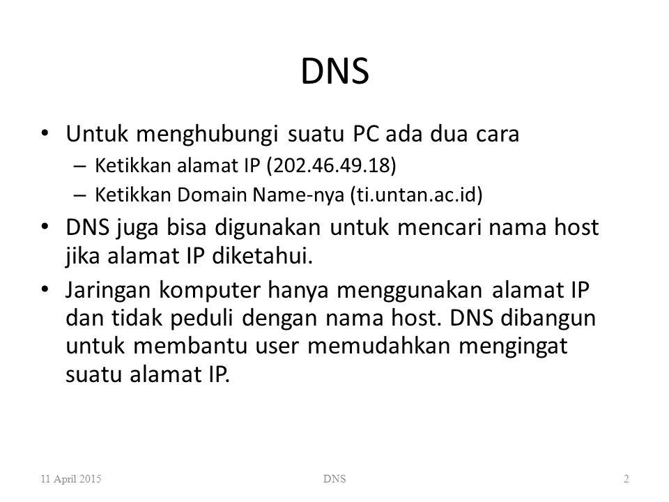 Cara Kerja DNS 11 April 2015DNS3 Client Server DNS lokal Terletak di ISP Cache Root Server DNS Server DNS ti.untan 1 3 4 2 5