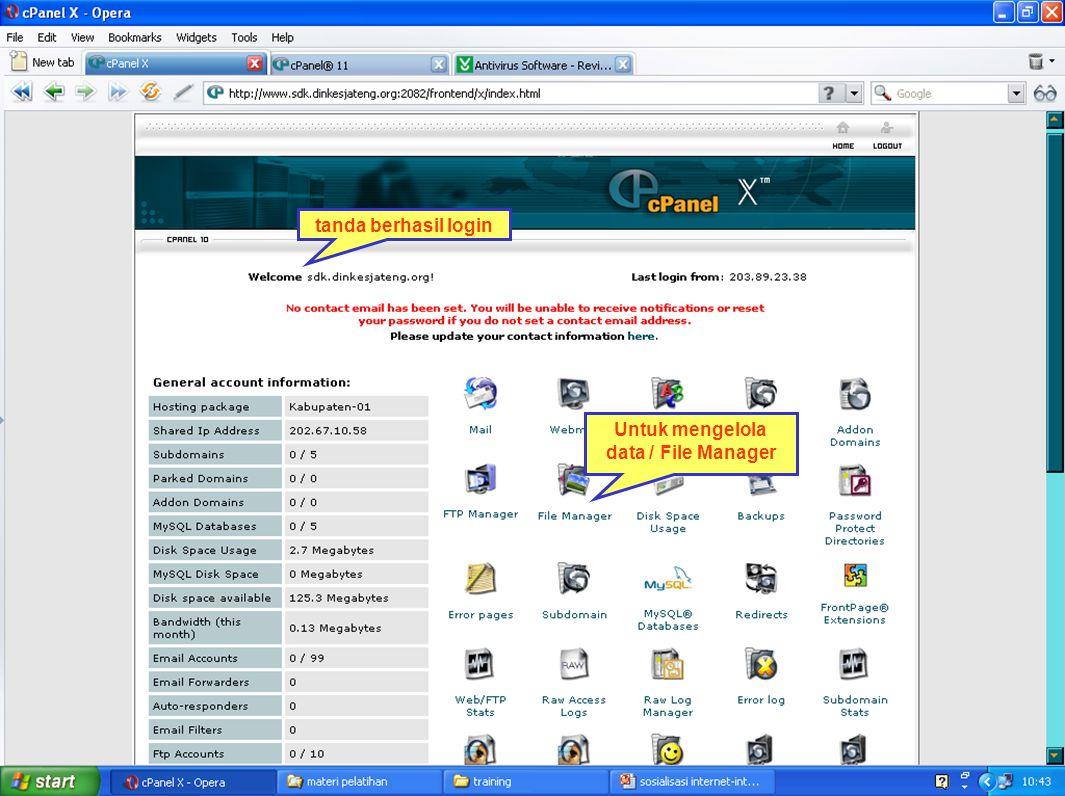 tanda berhasil login Untuk mengelola data / File Manager