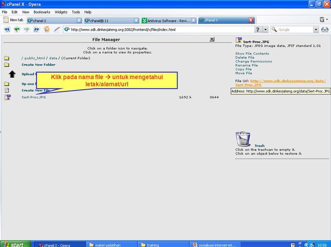 Klik pada nama file  untuk mengetahui letak/alamat/url