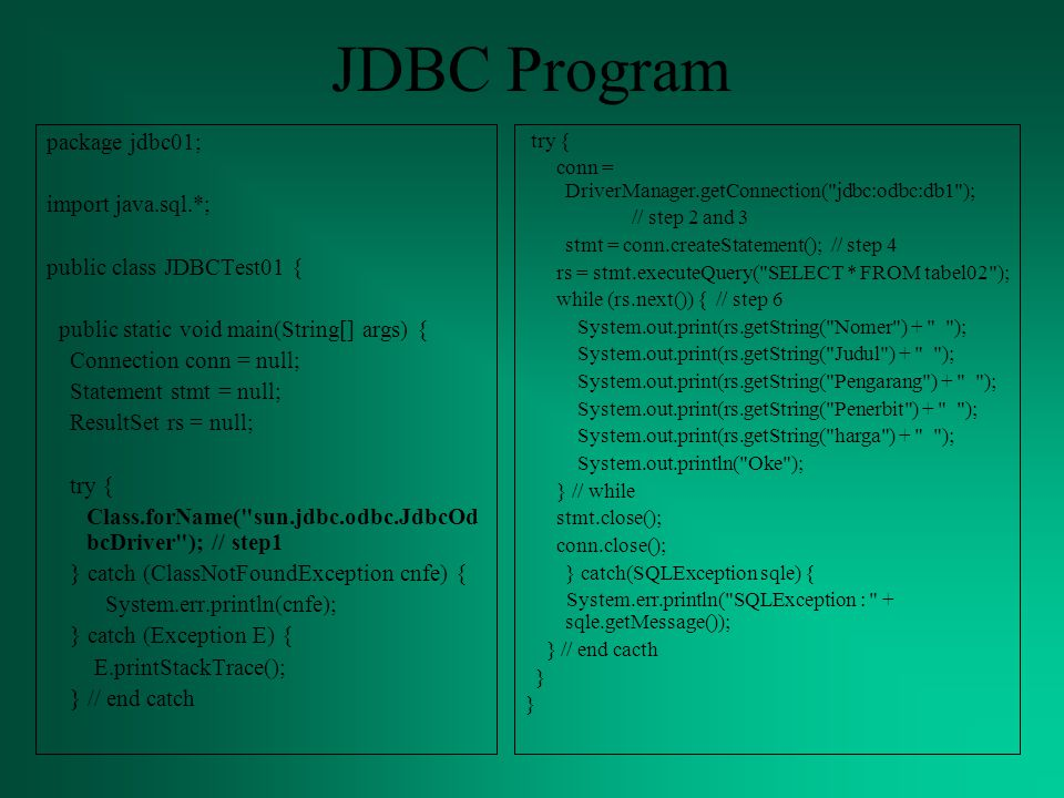 JDBC Program package jdbc01; import java.sql.*; public class JDBCTest01 { public static void main(String[] args) { Connection conn = null; Statement stmt = null; ResultSet rs = null; try { Class.forName( sun.jdbc.odbc.JdbcOd bcDriver ); // step1 } catch (ClassNotFoundException cnfe) { System.err.println(cnfe); } catch (Exception E) { E.printStackTrace(); } // end catch try { conn = DriverManager.getConnection( jdbc:odbc:db1 ); // step 2 and 3 stmt = conn.createStatement(); // step 4 rs = stmt.executeQuery( SELECT * FROM tabel02 ); while (rs.next()) { // step 6 System.out.print(rs.getString( Nomer ) + ); System.out.print(rs.getString( Judul ) + ); System.out.print(rs.getString( Pengarang ) + ); System.out.print(rs.getString( Penerbit ) + ); System.out.print(rs.getString( harga ) + ); System.out.println( Oke ); } // while stmt.close(); conn.close(); } catch(SQLException sqle) { System.err.println( SQLException : + sqle.getMessage()); } // end cacth }