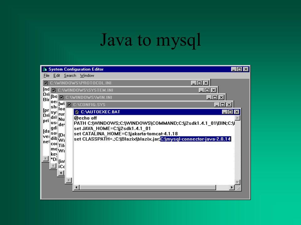 Java to mysql