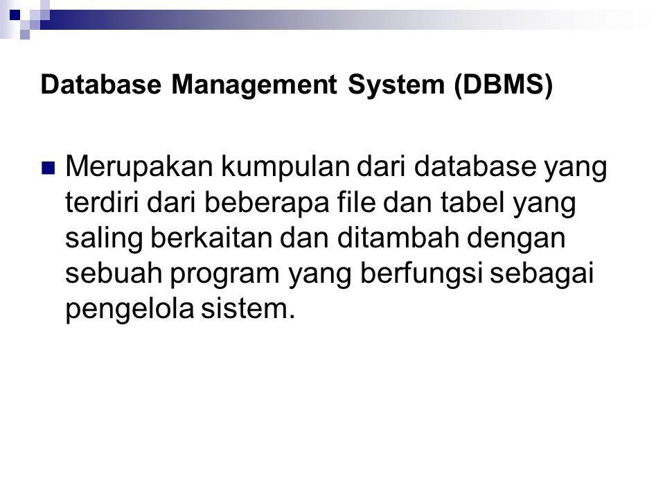 Database Management System (DBMS) Merupakan kumpulan dari database yang terdiri dari beberapa file dan tabel yang saling berkaitan dan ditambah dengan