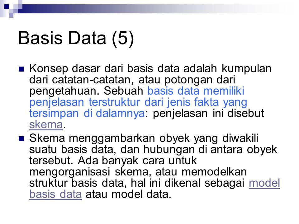 Basis Data (5) Konsep dasar dari basis data adalah kumpulan dari catatan-catatan, atau potongan dari pengetahuan. Sebuah basis data memiliki penjelasa