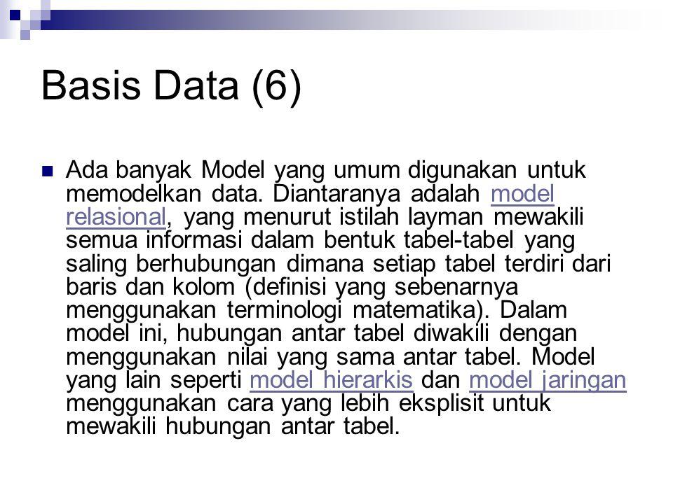 Basis Data (6) Ada banyak Model yang umum digunakan untuk memodelkan data. Diantaranya adalah model relasional, yang menurut istilah layman mewakili s