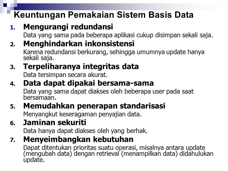 Keuntungan Pemakaian Sistem Basis Data 1. Mengurangi redundansi Data yang sama pada beberapa aplikasi cukup disimpan sekali saja. 2. Menghindarkan ink