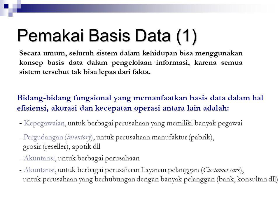 Pemakai Basis Data (1) Secara umum, seluruh sistem dalam kehidupan bisa menggunakan konsep basis data dalam pengelolaan informasi, karena semua sistem
