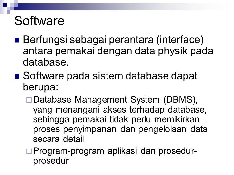 Software Berfungsi sebagai perantara (interface) antara pemakai dengan data physik pada database. Software pada sistem database dapat berupa:  Databa