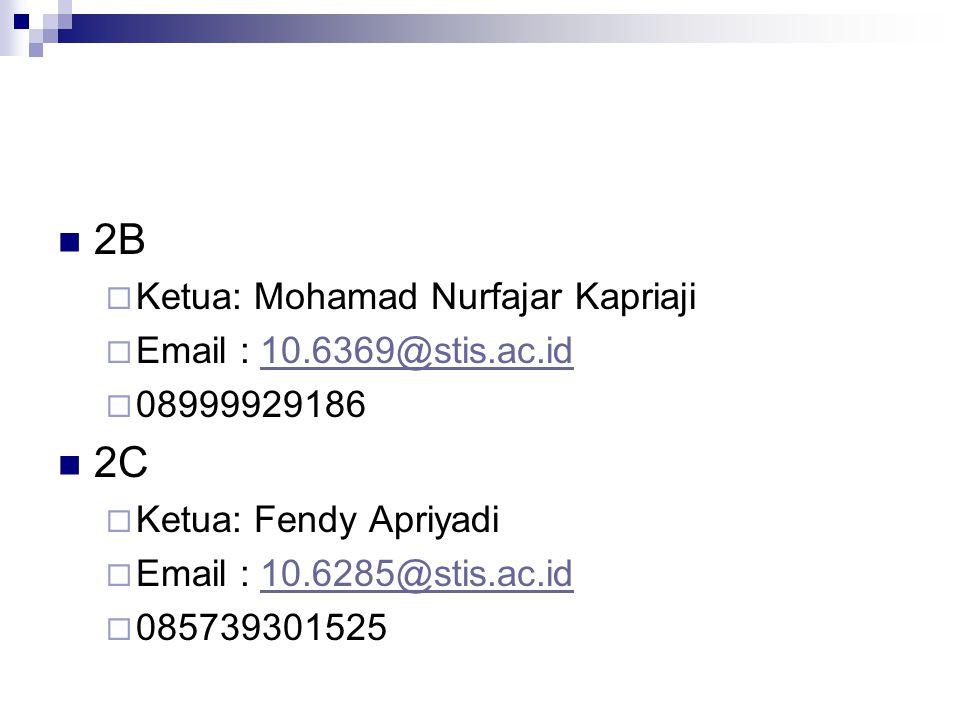 2B  Ketua: Mohamad Nurfajar Kapriaji  Email : 10.6369@stis.ac.id10.6369@stis.ac.id  08999929186 2C  Ketua: Fendy Apriyadi  Email : 10.6285@stis.a