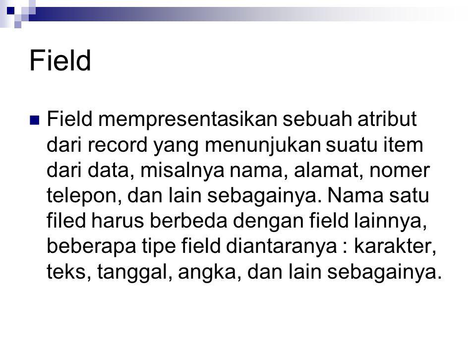Field Field mempresentasikan sebuah atribut dari record yang menunjukan suatu item dari data, misalnya nama, alamat, nomer telepon, dan lain sebagainy