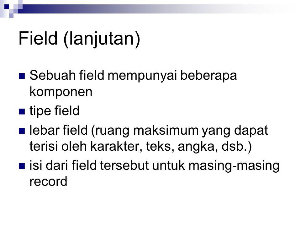 Field (lanjutan) Sebuah field mempunyai beberapa komponen tipe field lebar field (ruang maksimum yang dapat terisi oleh karakter, teks, angka, dsb.) i