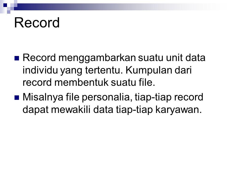 Record Record menggambarkan suatu unit data individu yang tertentu. Kumpulan dari record membentuk suatu file. Misalnya file personalia, tiap-tiap rec