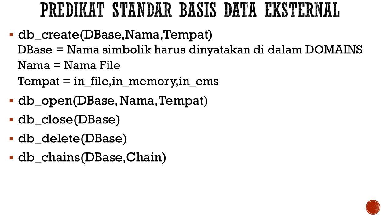  db_create(DBase,Nama,Tempat) DBase = Nama simbolik harus dinyatakan di dalam DOMAINS Nama = Nama File Tempat = in_file,in_memory,in_ems  db_open(DB