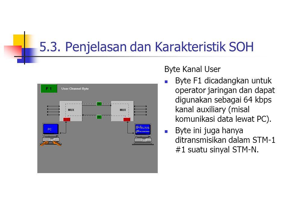 5.3. Penjelasan dan Karakteristik SOH Byte Kanal User Byte F1 dicadangkan untuk operator jaringan dan dapat digunakan sebagai 64 kbps kanal auxiliary