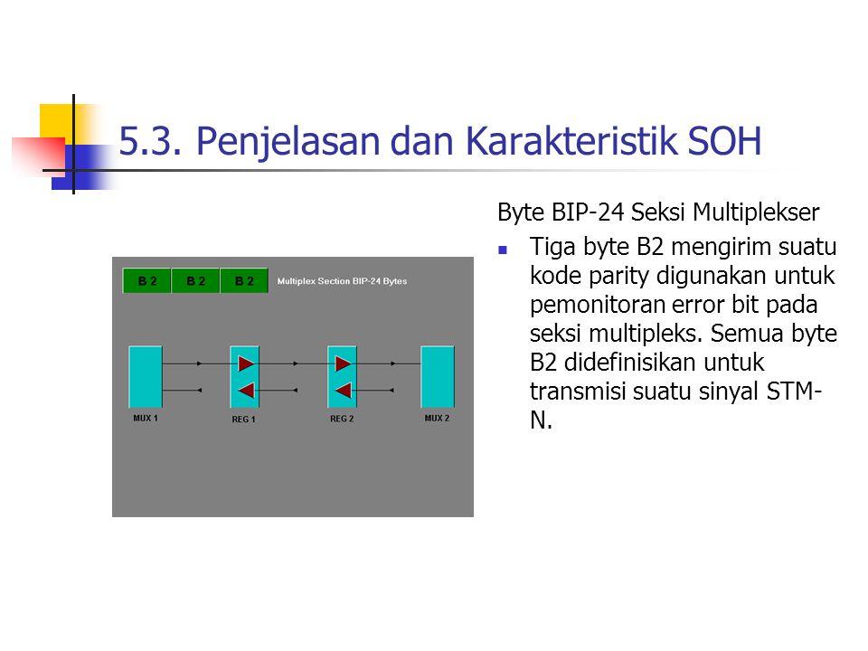 5.3. Penjelasan dan Karakteristik SOH Byte BIP-24 Seksi Multiplekser Tiga byte B2 mengirim suatu kode parity digunakan untuk pemonitoran error bit pad
