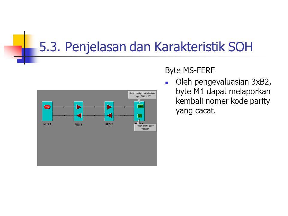 5.3. Penjelasan dan Karakteristik SOH Byte MS-FERF Oleh pengevaluasian 3xB2, byte M1 dapat melaporkan kembali nomer kode parity yang cacat.