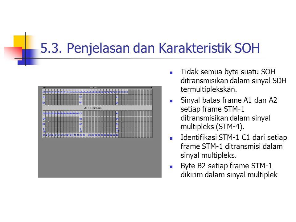 5.3. Penjelasan dan Karakteristik SOH Tidak semua byte suatu SOH ditransmisikan dalam sinyal SDH termultiplekskan. Sinyal batas frame A1 dan A2 setiap