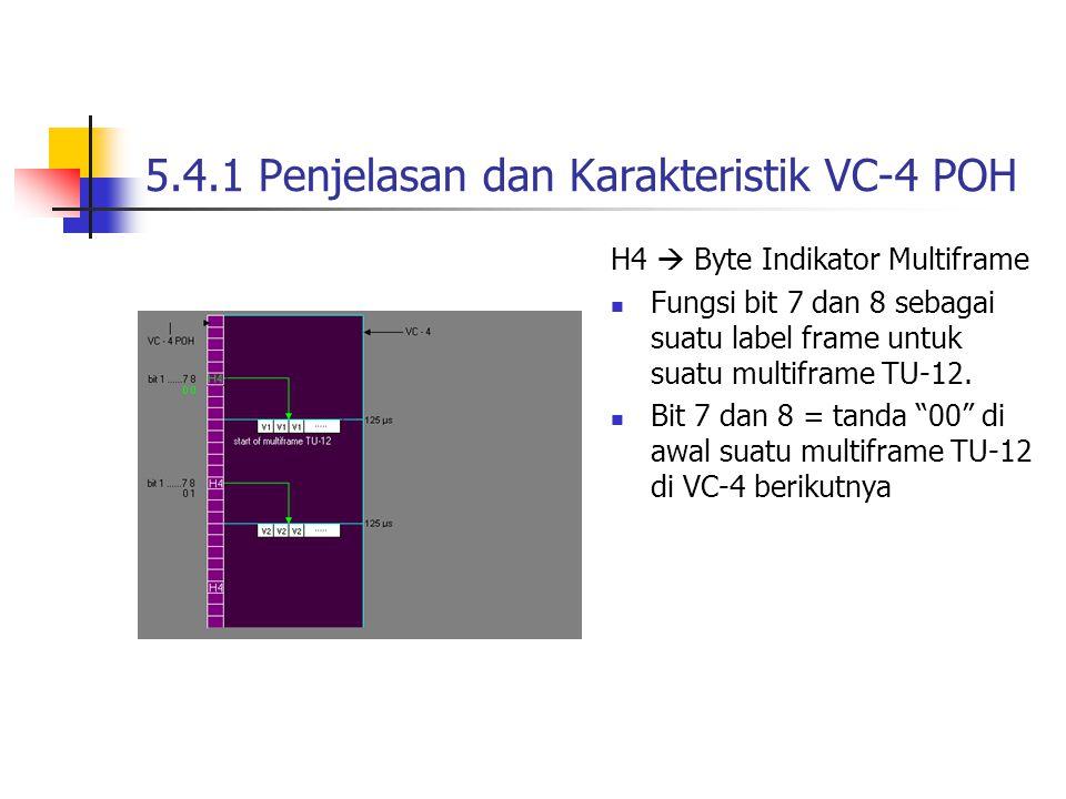 5.4.1 Penjelasan dan Karakteristik VC-4 POH H4  Byte Indikator Multiframe Fungsi bit 7 dan 8 sebagai suatu label frame untuk suatu multiframe TU-12.