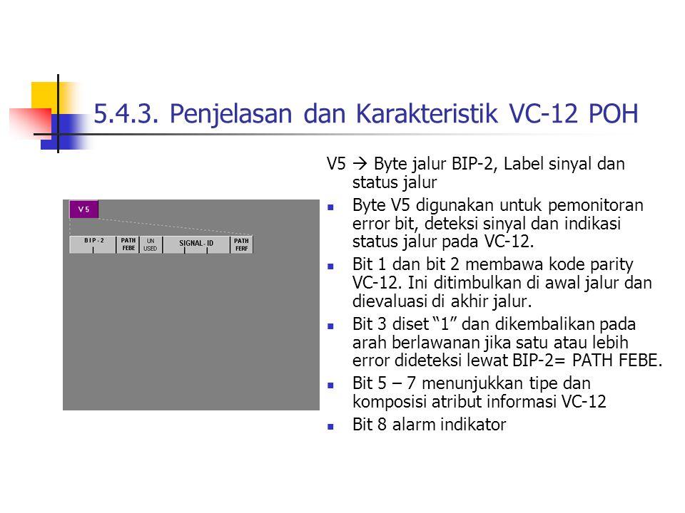 V5  Byte jalur BIP-2, Label sinyal dan status jalur Byte V5 digunakan untuk pemonitoran error bit, deteksi sinyal dan indikasi status jalur pada VC-12.