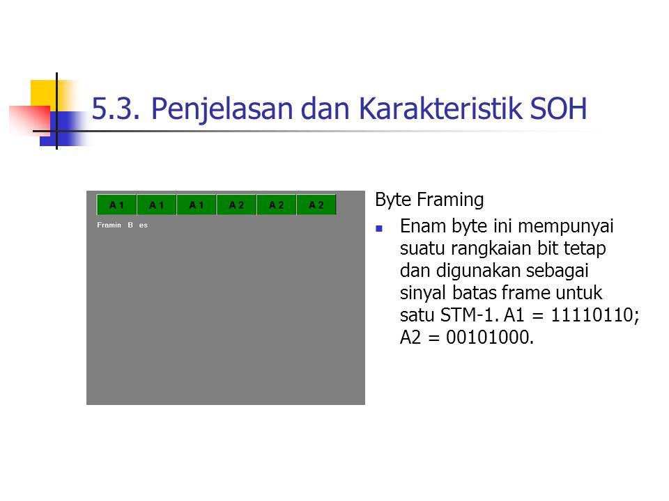 Byte Framing Enam byte ini mempunyai suatu rangkaian bit tetap dan digunakan sebagai sinyal batas frame untuk satu STM-1.