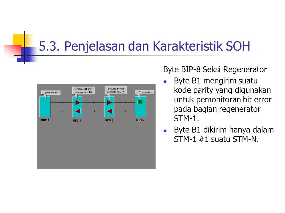 5.3. Penjelasan dan Karakteristik SOH Byte BIP-8 Seksi Regenerator Byte B1 mengirim suatu kode parity yang digunakan untuk pemonitoran bit error pada
