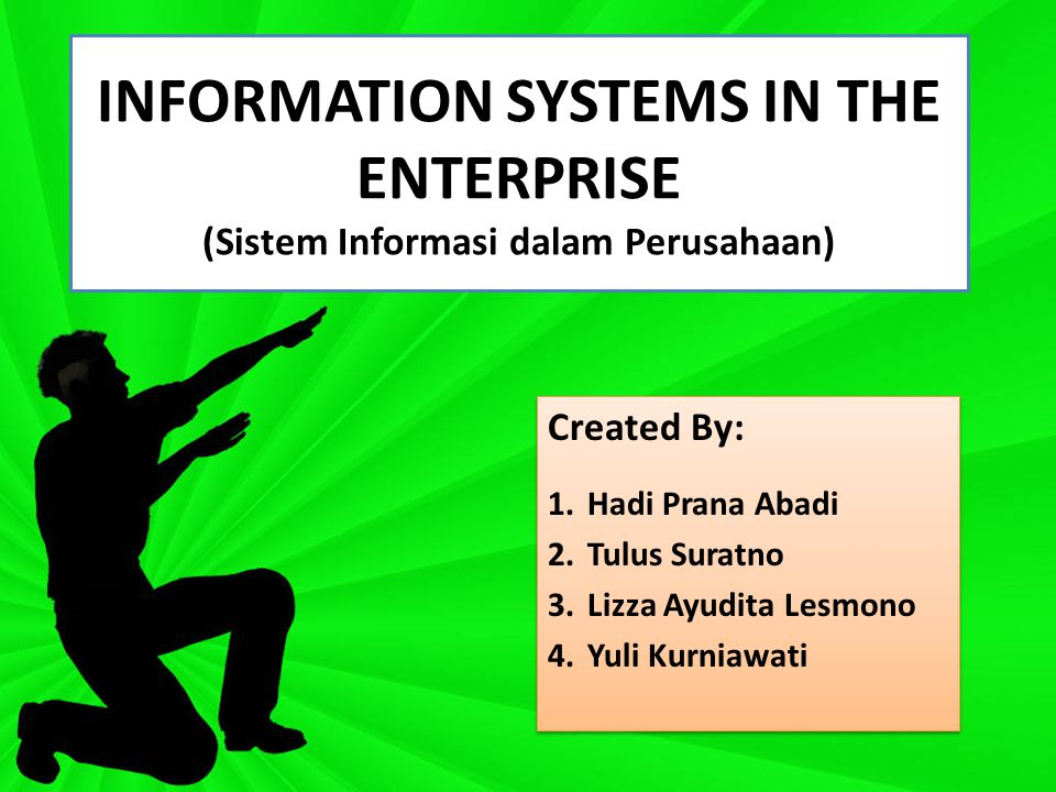 INFORMATION SYSTEMS IN THE ENTERPRISE (Sistem Informasi dalam Perusahaan) Created By: 1.Hadi Prana Abadi 2.Tulus Suratno 3.Lizza Ayudita Lesmono 4.Yuli Kurniawati Created By: 1.Hadi Prana Abadi 2.Tulus Suratno 3.Lizza Ayudita Lesmono 4.Yuli Kurniawati