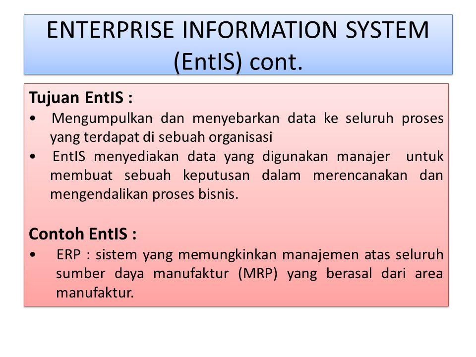 ENTERPRISE INFORMATION SYSTEM Karena sistem ini mencakup seluruh set proses yang dilakukan oleh organisasi, seperti : - Manufaktur - Penjualan - Pembe
