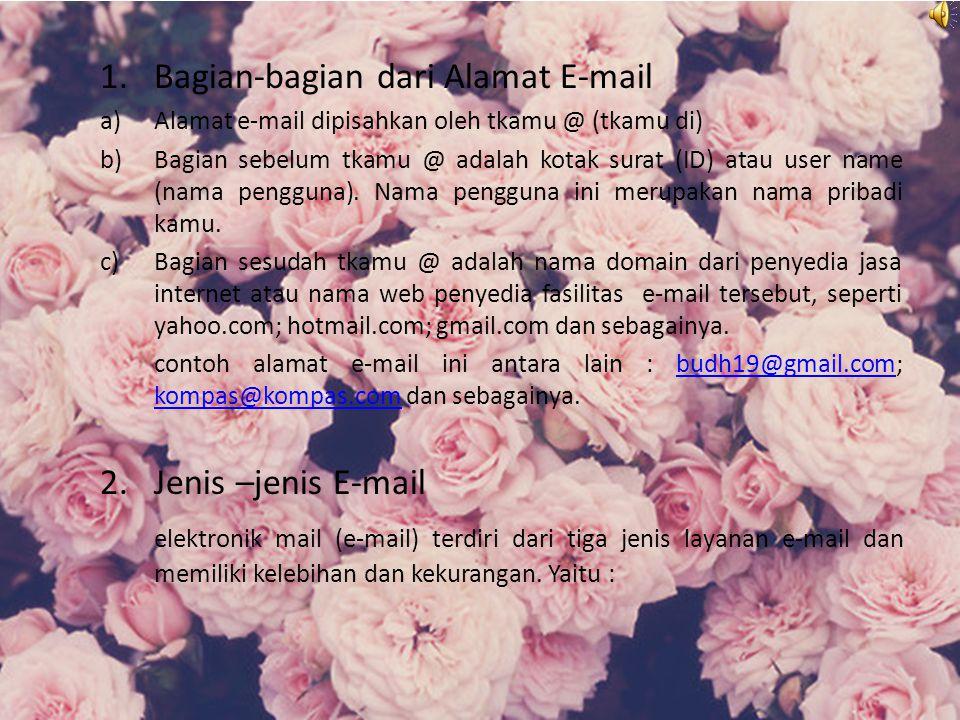 1.Bagian-bagian dari Alamat E-mail a)Alamat e-mail dipisahkan oleh tkamu @ (tkamu di) b)Bagian sebelum tkamu @ adalah kotak surat (ID) atau user name (nama pengguna).