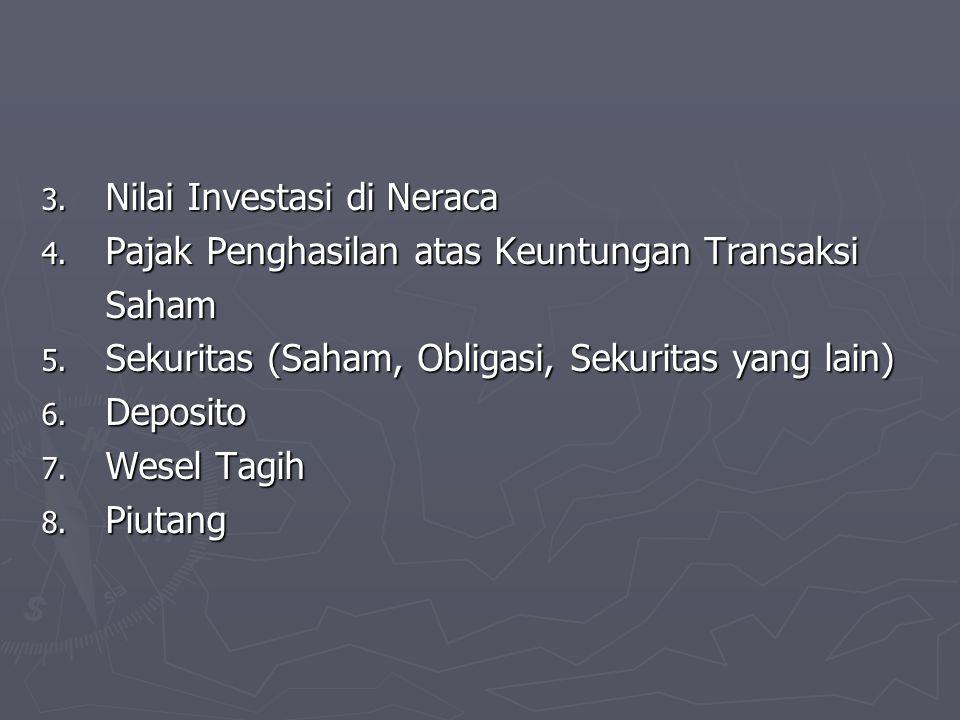 3. Nilai Investasi di Neraca 4. Pajak Penghasilan atas Keuntungan Transaksi Saham 5. Sekuritas (Saham, Obligasi, Sekuritas yang lain) 6. Deposito 7. W