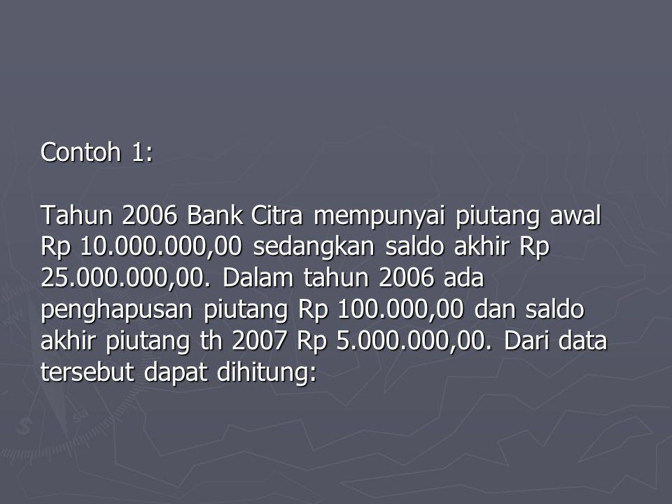 Contoh 1: Tahun 2006 Bank Citra mempunyai piutang awal Rp 10.000.000,00 sedangkan saldo akhir Rp 25.000.000,00. Dalam tahun 2006 ada penghapusan piuta