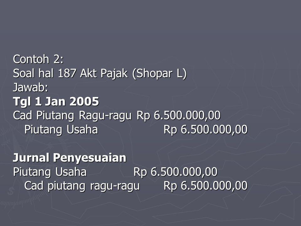 Contoh 2: Soal hal 187 Akt Pajak (Shopar L) Jawab: Tgl 1 Jan 2005 Cad Piutang Ragu-ragu Rp 6.500.000,00 Piutang UsahaRp 6.500.000,00 Jurnal Penyesuaia