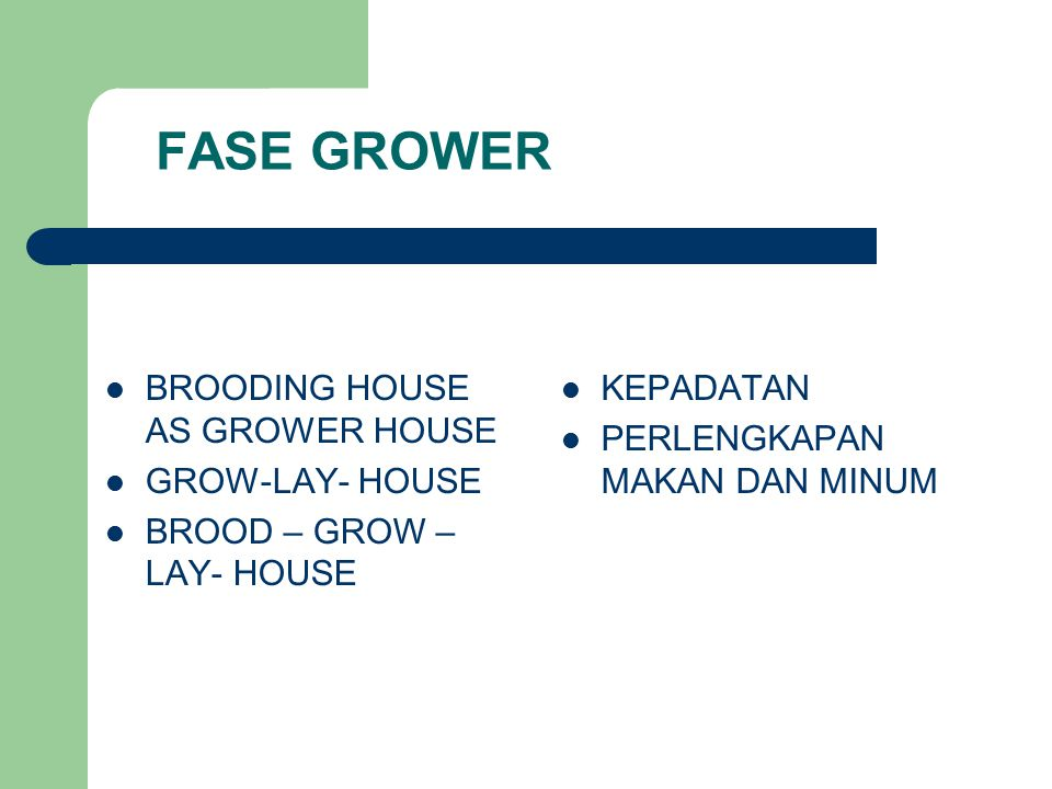 FASE GROWER BROODING HOUSE AS GROWER HOUSE GROW-LAY- HOUSE BROOD – GROW – LAY- HOUSE KEPADATAN PERLENGKAPAN MAKAN DAN MINUM